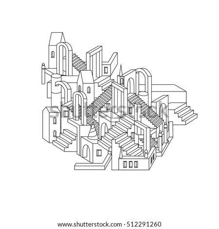 Hand drawn doodle outline city in shape of labyrinth houses, walls and stairs, design in puzzle style. Vector zen art illustration. abstract ornament. Sketch for tattoo, poster or adult coloring pages