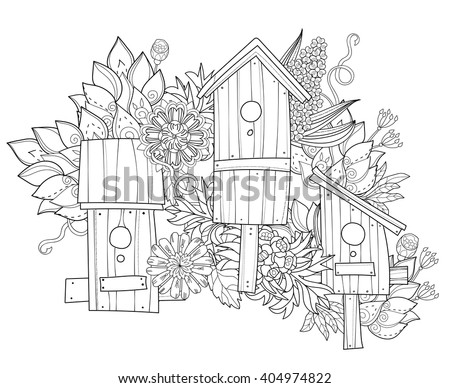 Hand Drawn Doodle Outline Spring Nesting Box Decorated With Floral OrnamentsVector Illustration