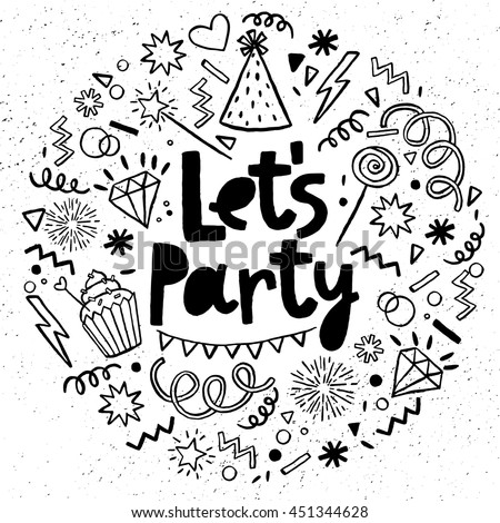 Hand drawn, doodle  party set. Sketch icons for invitation, flyer, poster