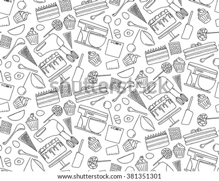 Hand drawn doodle Pastry set background seamless pattern. Coloring book vector illustration