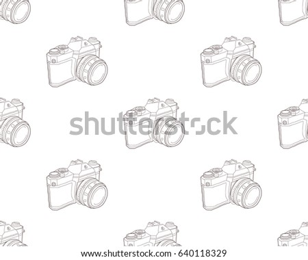 Hand Drawn Doodle Pattern Of Photo Camera Isolated On White Background Vector Illustration Cameras