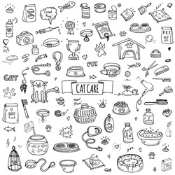 Hand drawn doodle Pets stuff and supply icons set. Vector illustration. Vet symbol collection. Cartoon cat care elements: kennel, leash, food, paw, bowl, bone and other goods for pet shop, hotel