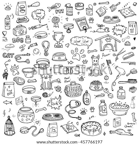 hand drawn doodle pets stuff