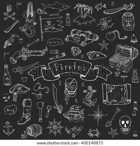 hand drawn doodle pirate icons