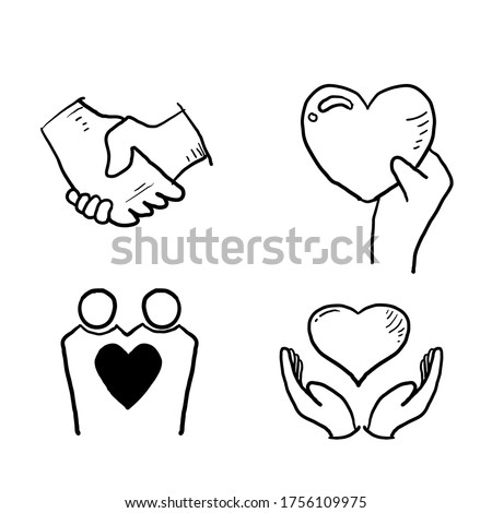 hand drawn doodle Relationship, Mutual Understanding, Mutual Assistance, Interaction, Friendship and Love symbol illustration cartoon style