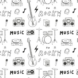 Hand drawn doodle rock music instruments vector graphic pattern