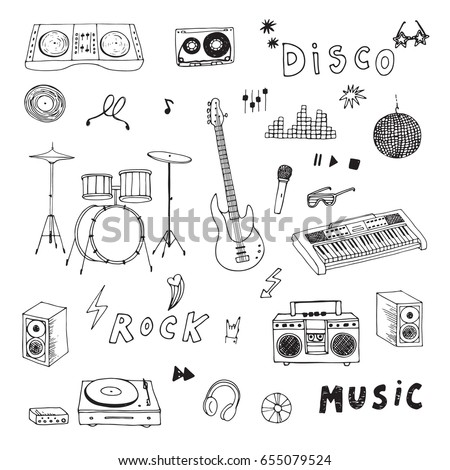Hand drawn doodle rock music instruments vector graphic set