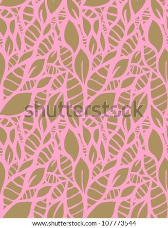 Hand-drawn doodle seamless leaf pattern.