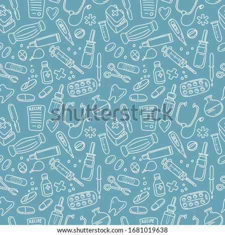 Hand drawn doodle seamless pattern vector illustration pharmacology,  medicine, chemistry lab isolated on blue background. Best for  wallpaper, wrapping, textile, packaging, medical design, banner