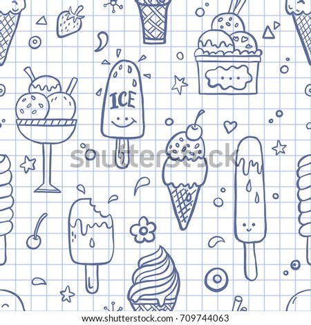 Hand drawn doodle seamless pattern with different ice cream types: ice cream cone and cup ice cream. Funny cartoon style vector illustration for background design.