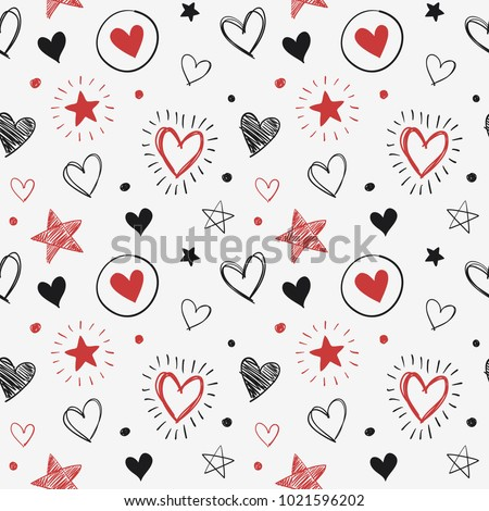 Hand-drawn doodle seamless pattern with hearts and stars. Design elements for Valentine's day. Red and Black.