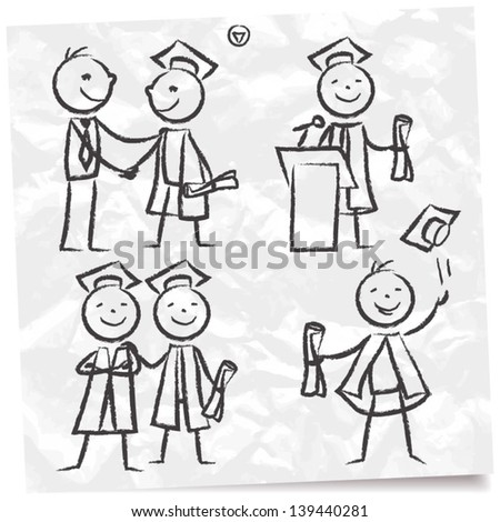 Hand drawn doodle set of graduates