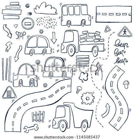 Hand drawn doodle set with funny cars, bus, roads, vector illustration.