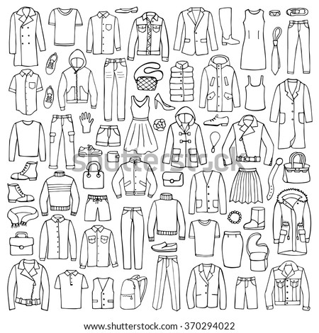 Hand drawn doodle set with man and woman clothes.