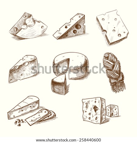 Shutterstock Hand drawn doodle sketch cheese with different types of cheeses in retro style stylized.