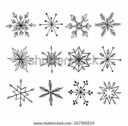 hand drawn doodle snowflakes