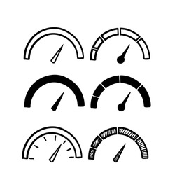 hand drawn doodle Speedometer, tachometer icon. Speed indicator sign. Internet car speed. Performance concept. isolated