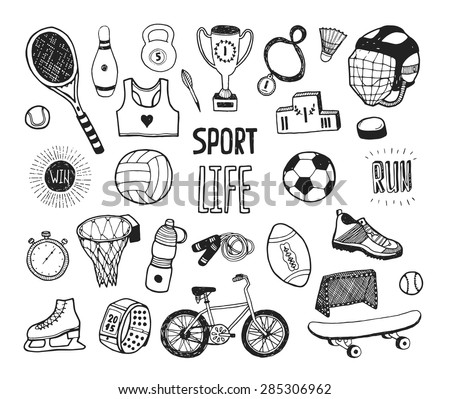 Hand drawn doodle sport collection. Vector sport icons, cycling, skating, soccer, bowling, golf, tennis, baseball. Cartoon healthy lifestyle set