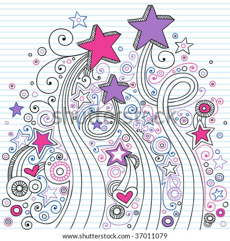 Hand-Drawn Doodle Stars on Lined Notebook Paper Vector Illustration