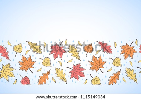 hand drawn doodle style autumn