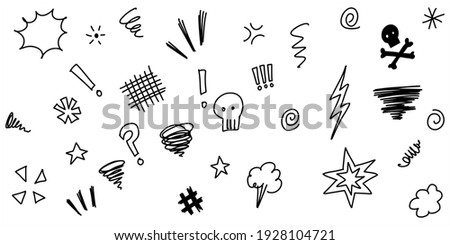 Hand drawn doodle Swearing isolated on white background . set elements, for concept design. vector illustration.