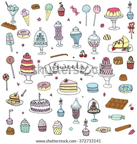 hand drawn doodle sweets set