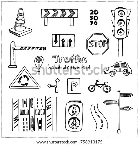 Hand drawn doodle traffic set. Vector illustration. Isolated elements on white background. Symbol collection.
