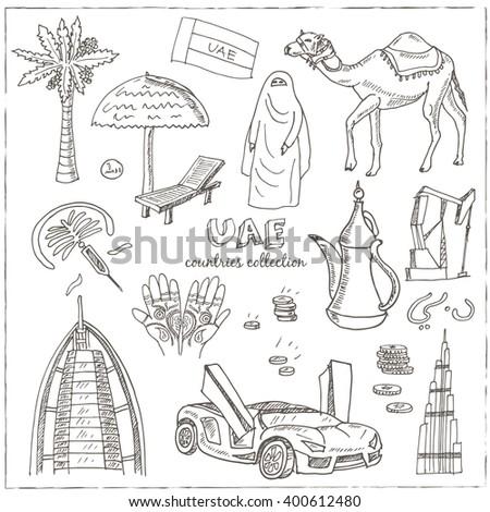hand drawn doodle uae travel
