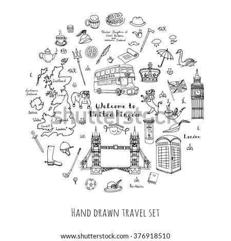 Hand drawn doodle United Kingdom set Vector illustration UK icons  Welcome to London elements British symbols collection Tea Bus Horse riding Golf Crown Beer Lion Bulldog London bridge Big Ben Tower #376918510