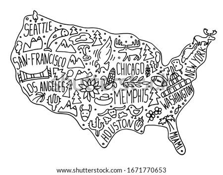 hand drawn doodle usa map