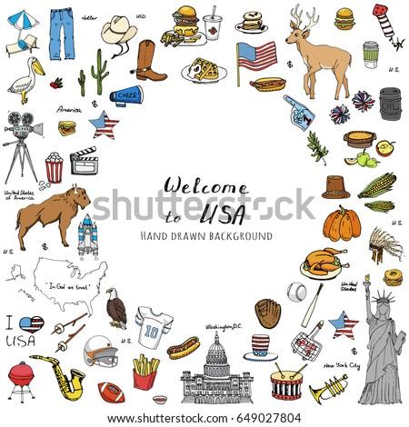 hand drawn doodle usa set