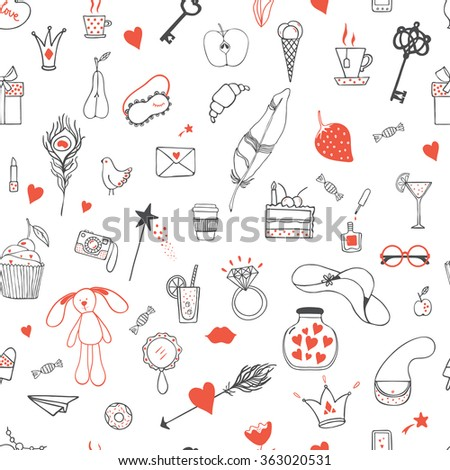 Hand drawn doodle vector pattern with cupcake, crown, ring, pizza, camera, feather, cat, letter, etc. Modern princess icons.  Design element for wrapping paper, textile. #363020531