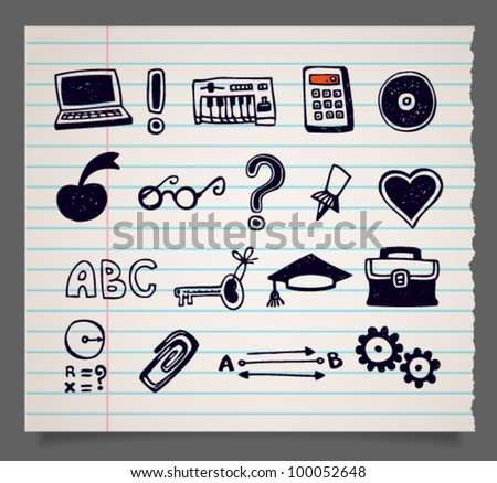 Hand-drawn doodle vector school items icons on exercise-book sheet in stripes, set 3