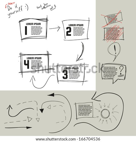 Hand drawn doodle vector text box collection Vector eps10 Bonus arrows