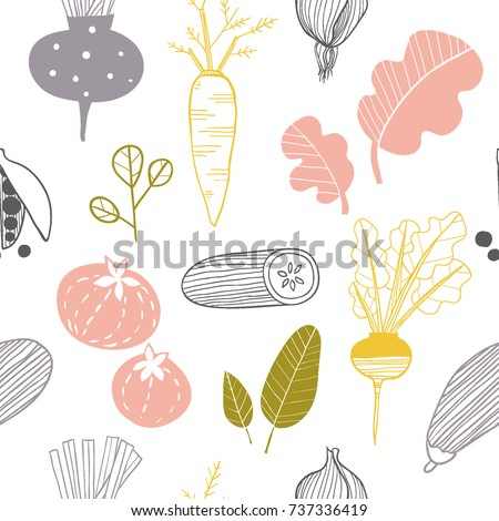 Hand drawn doodle vegetables. Sketch style vector seamless pattern. Colorful vegetables flat icons background: cucumber, carrot, onion, tomato.
