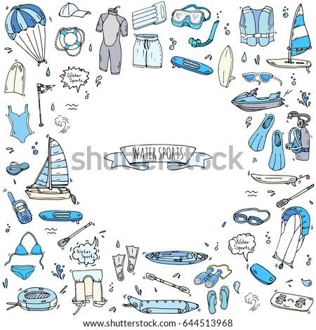 Hand drawn doodle Water sports icons set. Vector illustration, isolated symbols collection, Cartoon various elements: jet ski, wake board, surfing, kayak, kitesurfing, paddle, parasailing