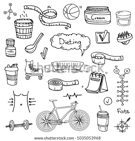 Hand drawn doodle Weight loss icons set Vector illustration dieting symbols collection Cartoon sketch elements Diet Sport equipment Healthy food eating Nutrition Protein Carbs Fats chemical formula