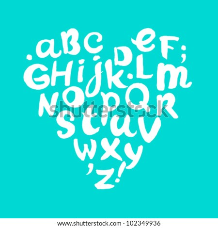 Hand drawn doodle white alphabet, template for design and decoration