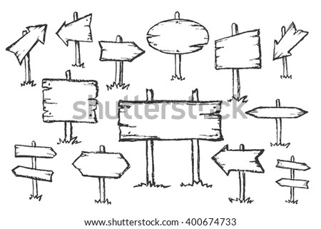 Hand drawn doodle wooden road signs and arrows pointing in different and opposite directions. Vector illustration. #400674733