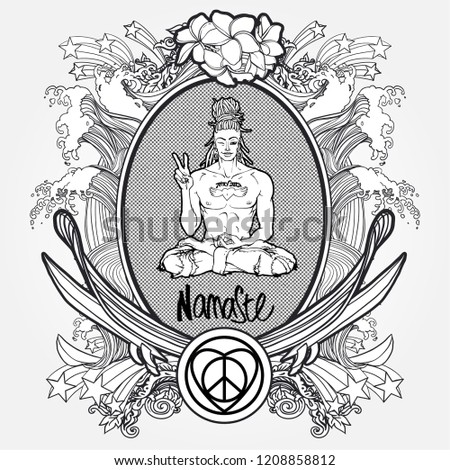 Shutterstock puzzlepix contemporary sexy buddha showing peace sign and winking inscription namaste ironic greeting hipster insignia in comic style m4hsunfo