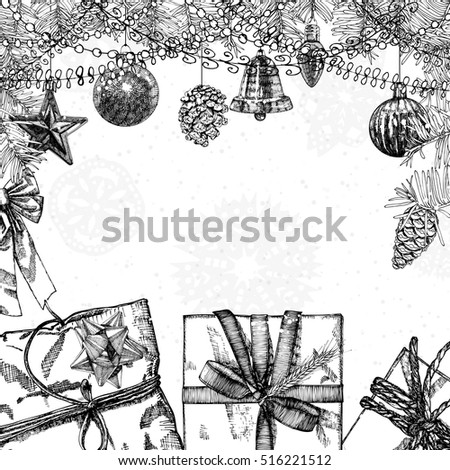 Hand drawn doodles of New Year illustration. Picture with New Year and Christmas theme items. Colorful detailed, with holiday objects background artwork. Place card for invitation text. Vector.