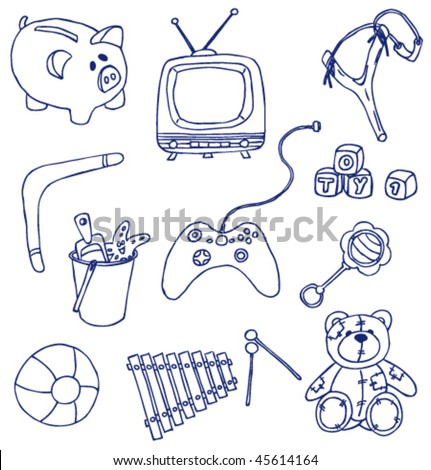 Hand-drawn doodles on the toys theme isolated on white background