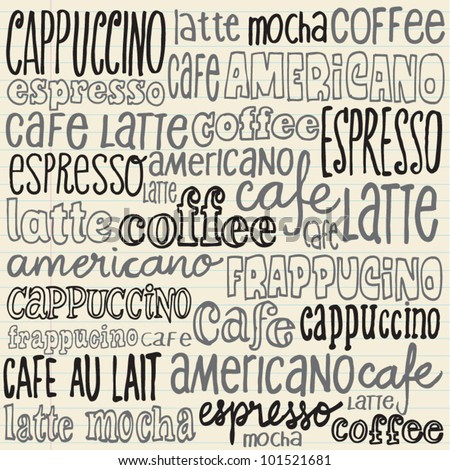 Hand drawn doodles set of coffee words