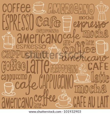 Hand drawn doodles sketchy coffee icons and words - stock vector