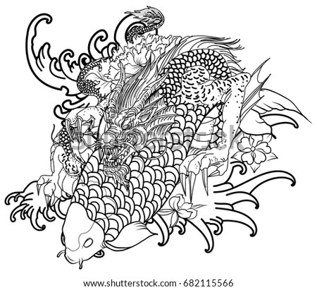 Coloring Book Vector Image Hand Drawn Dragon And Koi Fish With Flower Tattoo For Arm Japanese Carp Line Drawing