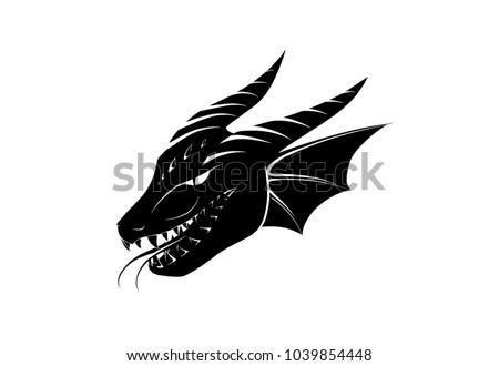 hand drawn dragon head on white