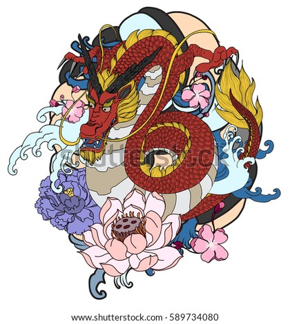 Hand Drawn Dragon Tattoo Coloring Book Japanese Style Ez Canvas