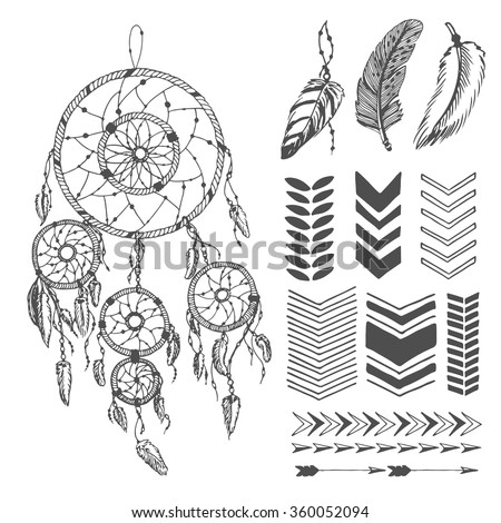 hand drawn dream catcher with