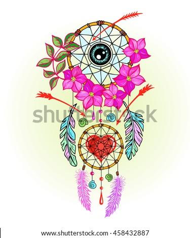 hand drawn dreamcatcher with