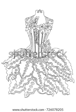 Hand drawn dress. Sketch for anti-stress adult coloring book in zen-tangle style. Vector illustration for coloring page.